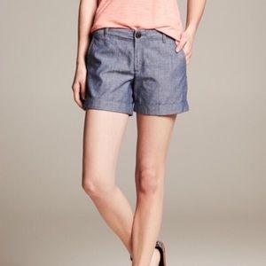 Banana Republic 100% Cotton Chambray Shorts Sz 0